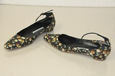 $745 NEW for 16 MANOLO BLAHNIK Semmen green olive print fabric Flats SHOES 40.5