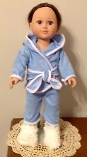"""2 Pc Hooded Pajamas for your 18"""" or American Girl Doll in Blue, Pink or White"""