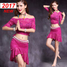 Sexy 2017 New Lace Belly Dance Costumes 2pcs off shoulder top&short skirt  M L