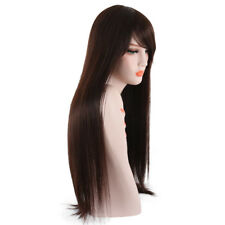 Fashion Long Straight Wigs with Side Bangs Natural Brown Synthetic Wig for Women
