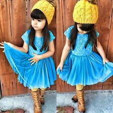 Toddler Baby Cool Blue Lace Dress Party Dress Kids Girls Comfortable Clothing#AE