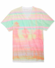 GUESS ABSTRACT PASTEL Tropical V-Neck Tee, NWT!!