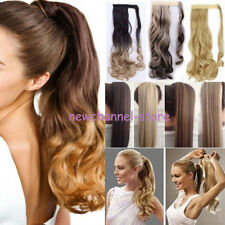 100% Thick Clip In Ponytail Hair Extensions Curly Wavy Wrap Pony Tail BROWN MIX