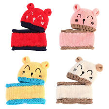 Winter Baby Toddler Girl Boy Warm Cute Cat Hat Cap Beanie Scarf Set Kids Child