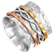Solid 925 Sterling Silver Spinner Infinity Ring 3 Tone Spinning Wide Band Size