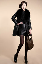 Women's Winter Warm Parka Faux Fur Leather Coat  Jacket Outerwear Long Overcoat