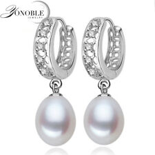 Real freshwater pearl earrings for women,925 sterling silver pearl earrings fine