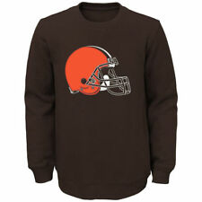 Cleveland Browns Youth Brown Prime Fleece Crew Pullover Sweatshirt - NFL