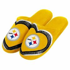 Pittsburgh Steelers Women's Glitter Heart Slide Slippers - New