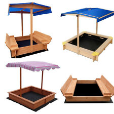 Sandpit Toy Box Kids Wooden Canopy Sand Pit Outdoor Children Play Set Large Seat