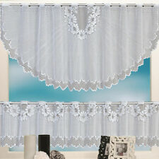 1 Set Delicate Lace Cafe Kitchen Curtain Set Rod Pocket Semi-Sheered Curtain