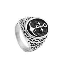 Mens Stainless Steel Ring Biker Silver Boat Ship Anchor Finger Ring US Size 7-12