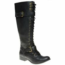 New Womens Rocket Dog Black Beany Synthetic Boots Knee-High Lace Up Zip