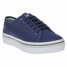 New WOMENS FRED PERRY BLUE PHOENIX FLATFORM CANVAS Sneakers PLIMSOLLS
