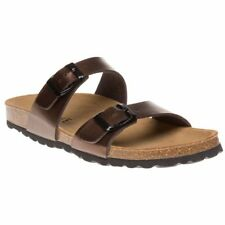New WOMENS Sole BROWN LIQUID PALOMA SYNTHETIC SANDALS FLATS