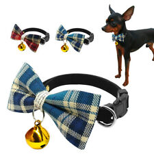 Chihuahua Dog Collar Bow Tie Puppy Pet Cat Plaid Necktie Party Grooming & Bell