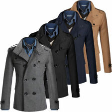 Men's Winter Wool Blend Slim Trench Coat Reefer Jackets Double Breasted Peacoat