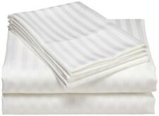 3 PCs Zipper Duvet set White Stripe 1000 TC - 100% Egyptian Cotton UK Sizes