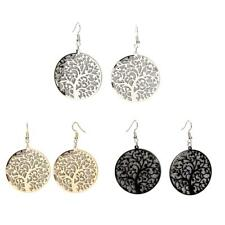 1 Pair Alloy Round Dangle Tree Of Life Tribal Earrings Hooks Party Jewelry