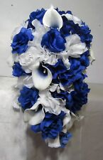 Royal Blue White Rose Calla Lily Cascading Wedding Bouquet & Boutonniere