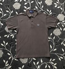Men's Designer Short Sleeve Fred Perry Polo Shirt Brown Size XS Chest 36
