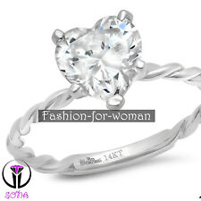 2.00Ct Heart VVS1 DIAMOND 14K WHITE GOLD Promise Ring Solitaire Engagement MARIE