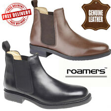 ROAMERS MENS TWIN GUSSET PADDED GENTS LEATHER SHOES CHELSEA DEALER BOOTS UK SIZE