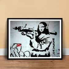 BANKSY MONA LISA ROCKET LAUNCHER GRAFFITI STREET SPRAY ART POSTER PRINT GIFT