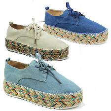 WOMENS LADIES CHUNKY WEAVE SOLE LACE UP CANVAS PUMPS ESPADRILLES SHOES SIZE 3-8