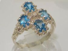 English Hallmarked Solid 925 Sterling Silver Blue Topaz Opal Cluster Ring