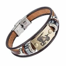 12 zodiac signs Stainless Steel Clasp Leather Bracelet