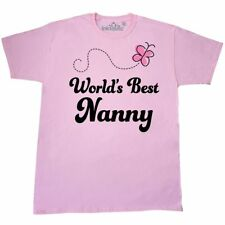 Inktastic Worlds Best Nanny Grandma T-Shirt Pink Butterfly Grandmother Mothers