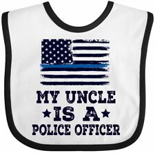 Inktastic Police Officer Uncle Nephew Niece Gift Baby Bib Policeman Flag Law Job