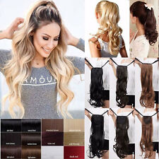 US STOCK Lady Drawstring Real as human Clip In Ponytail Hair Extensions Straight