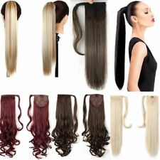 US 1PCS 100% Thick Clip In Real as human Hair Extensions Wrap Around Ponytail N2