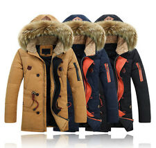 Stylish Men fur collar Jacket Coat Parka Winter Warm Duck Down Outerwear New