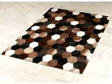 Cowhide rug brown hexagon patchwork leather Kuhfell Teppich Tapis peau vache CS3