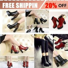 Female Martin Boots Women Casual Shoes Side Zipper High Chunky Heels Shoes BU