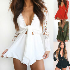 UK Womens Holiday V Neck Ruffle Mini Playsuit Ladies Shorts Jumpsuit Beach Dress