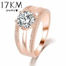 Austrian Crystals Ring Rose Gold Color Flower Ring