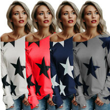 UK Womens Long Sleeve Casual Tops Ladies Star Print Blouse Top Pullover T Shirt