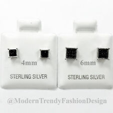 Square Princess Cut Black CZ Stud 925 Sterling Silver Post Earrings