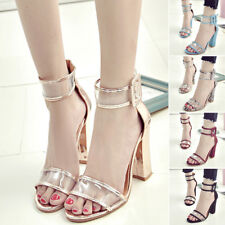 Fashion Women High Clear Heels Ankle Strappy Open Toe Ladies Sandals Party Shoes