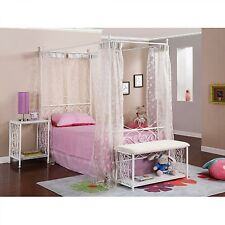 Canopy Twin Bed Wrought Iron Princess Girls Kids Bedroom Furniture Metal Frame
