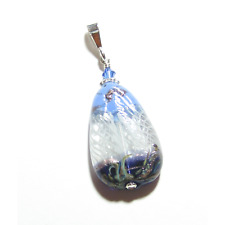 Murano Glass Blue White Teardrop Pendant