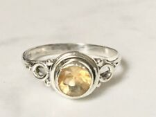 925 Sterling Silver Stackable Citrine Faceted Stack Gemstone Ring Size 7 7.5 8