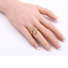 Womens White Round Crystal Leaves Ring Jewelry 18K GP Wedding Ring Size 6/7/8/9