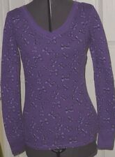 ONE STEP UP KNIT TOP SHIRT SIZE M JUNIOR THERMAL PURPLE BOWS NWT