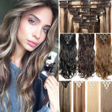 US 8Piece Long Curly Straight Full head clip in on hair extensions Black Brown