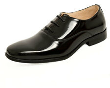 Dobell Boys Black Classic Leather Patent Lace-up Formal Wedding Dress Shoes